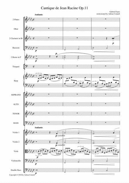 Faure - Cantique de Jean Racine orchestrated Adrian Connell - Full Score