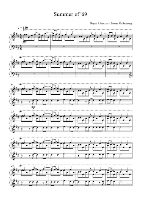 Download Summer Of \'69 - Piano Solo Sheet Music By Bryan Adams ...