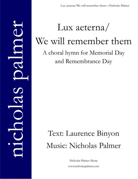 Lux aeterna/We will remember them