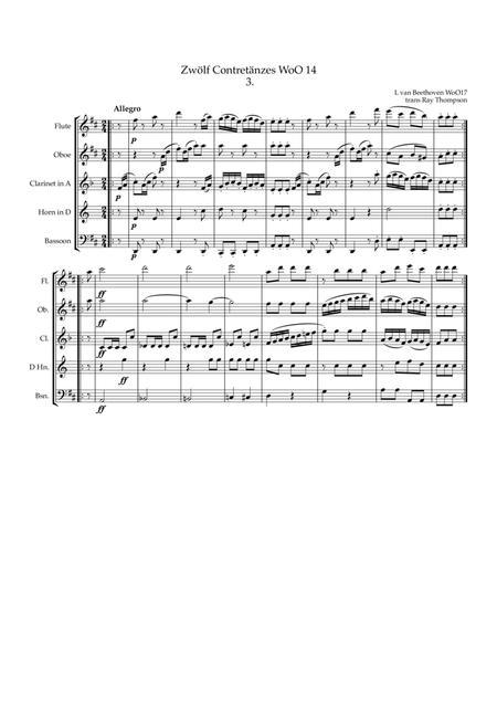 Beethoven: Zwölf ContreTänze (Twelve Countredances) No.3 - wind quintet