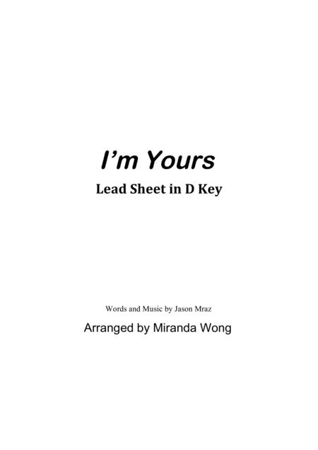 I'm Yours - Lead Sheet in D Key (With Chords)