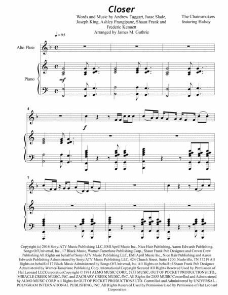 The Chainsmokers: Closer for Alto Flute & Piano