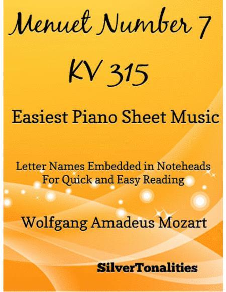 Menuet Number 7 KV 315 Easy Piano Sheet Music