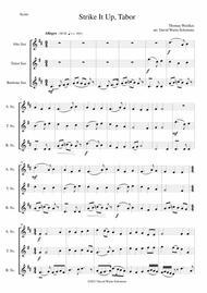 Variations on Strike it up Tabor for saxophone trio (alto, tenor, baritone)