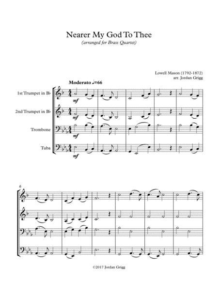Nearer My God To Thee (Brass Quartet) Score and Parts