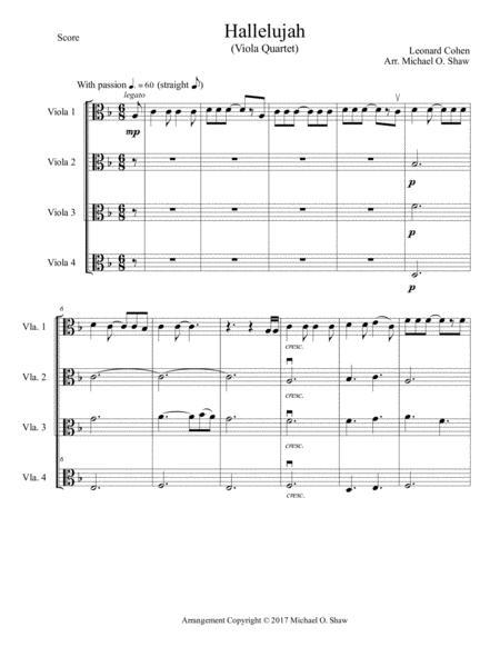 Hallelujah by Leonard Cohen for Viola Quartet (4 Violas)