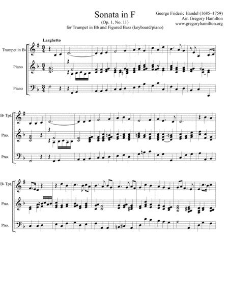 Sonata in F arranged for Bb trumpet and Piano - Keyboard