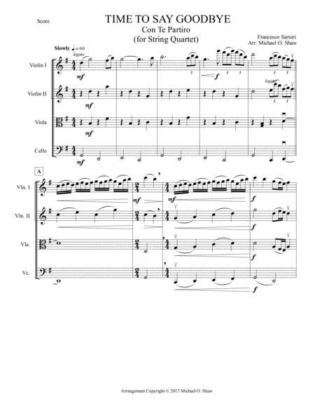 Time To Say Goodbye by Francesco Sartori for String Quartet