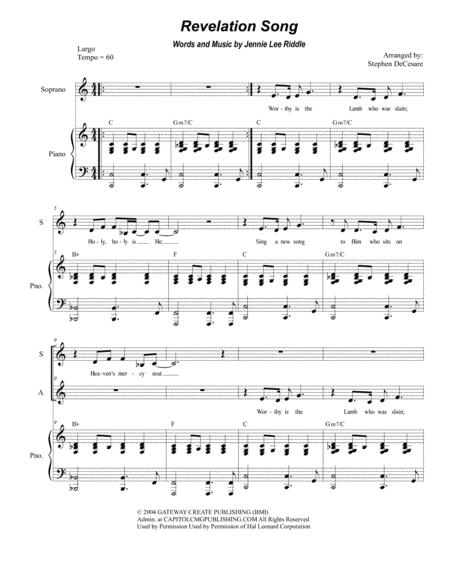Revelation Song (Duet for Soprano and Alto Solo)