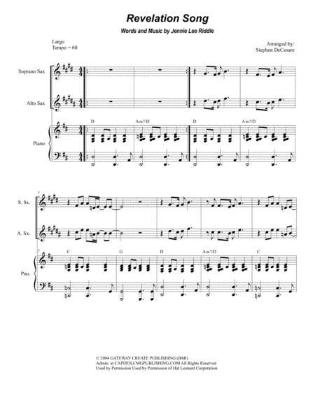 Revelation Song (for Saxophone Quartet)