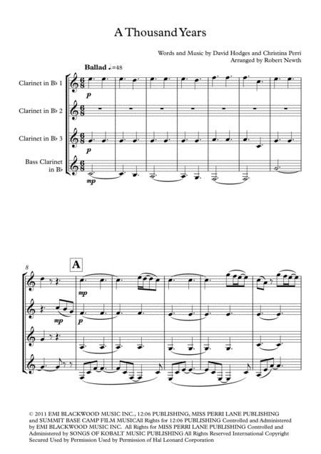 A Thousand Years (for Clarinet Quartet)