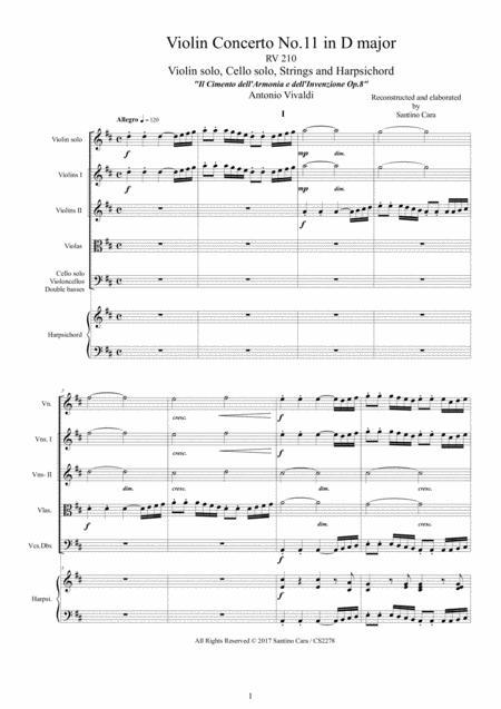 Vivaldi - Violin Concerto No.11 in D major RV 210 Op.8 for Violin, Strings and Harpsichord
