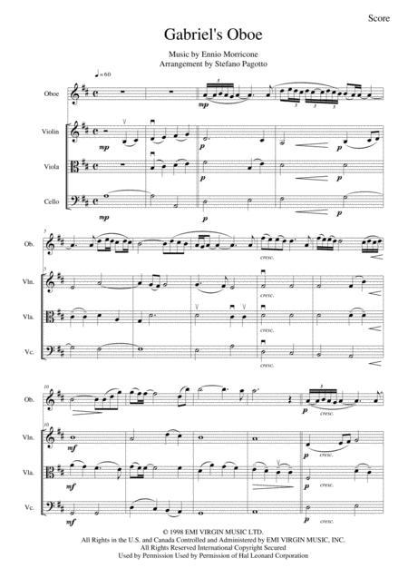 Gabriel's Oboe (Nella Fantasia) for oboe (or flute or violin) and string trio - From