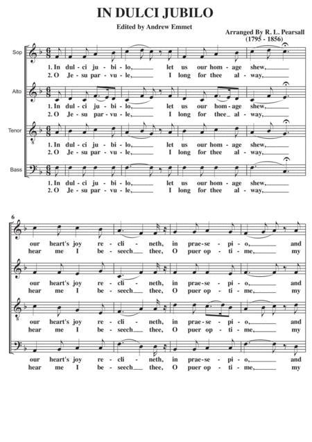 In Dulci Jubilo SATB A Cappella