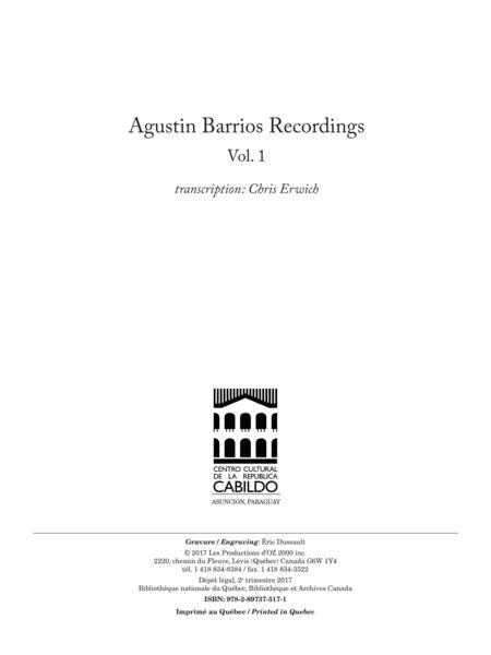Agustin Barrios Recordings, Vol. 1