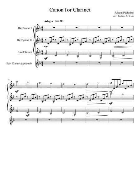 Pachelbel Canon for Clarinet Quartet