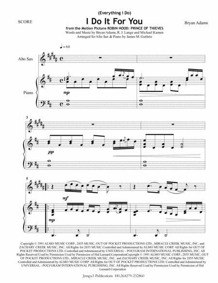 Bryan Adams: (Everything I Do) I Do It For You for Alto Sax & Piano