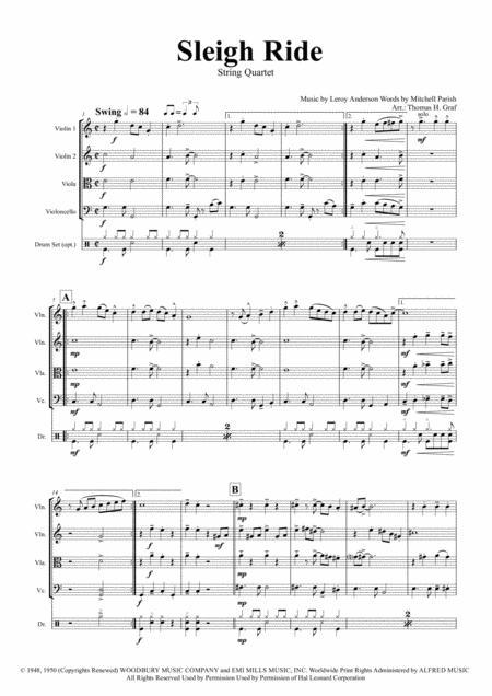 Sleigh Ride - Easy Swing - String Quartet