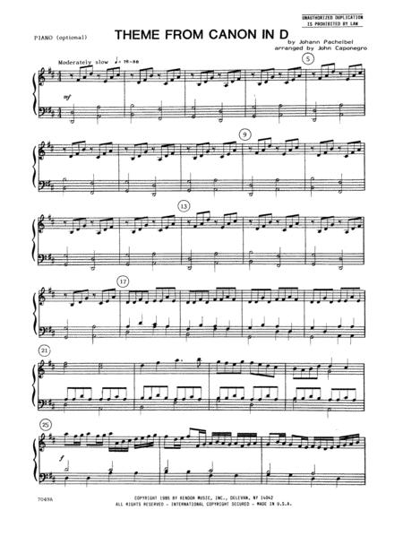 Theme From Canon In D - Piano Accompaniment