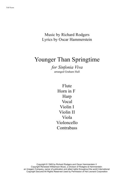 Younger Than Springtime (for chamber ensemble and vocal)