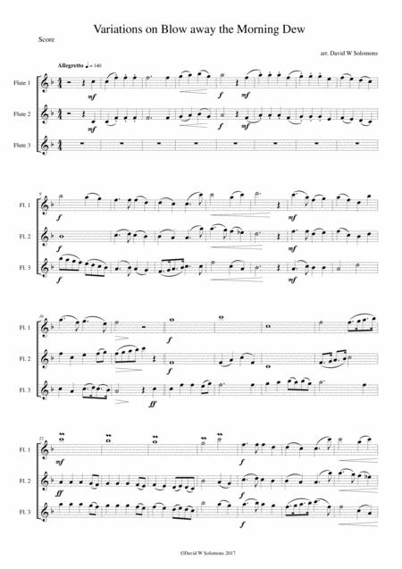 Variations on Blow away the morning dew for flute trio (3 C flutes)