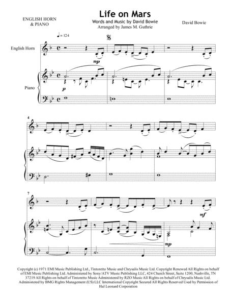 David Bowie: Life On Mars for English Horn & Piano