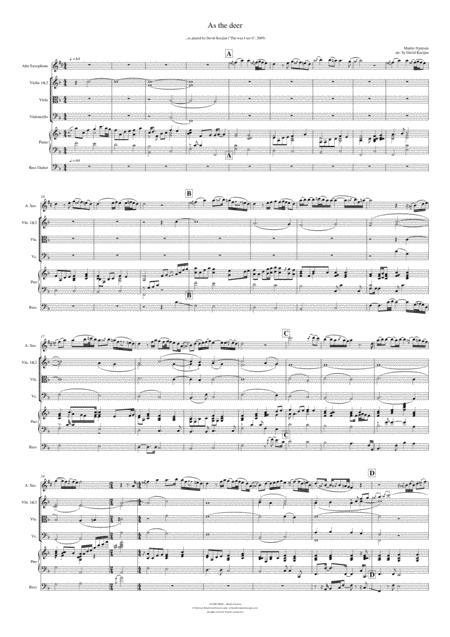 As the deer - (piano, violin, viola, cello, flute, clarinet, saxophone, bass guitar)