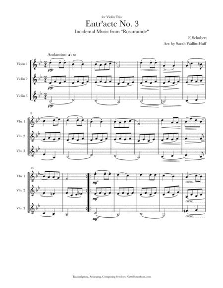 Rosamunde Entr'acte No. 3 (for Three Violins)