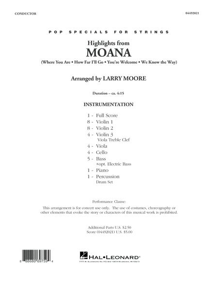 Highlights from Moana - Conductor Score (Full Score)