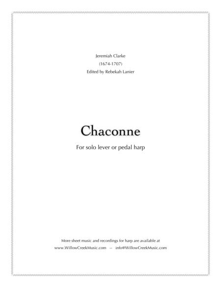 Chaconne by Jeremiah Clarke - solo lever or pedal harp