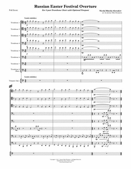 Russian Easter Festival Overture for 8-part Trombone Choir w. opt. Timpani