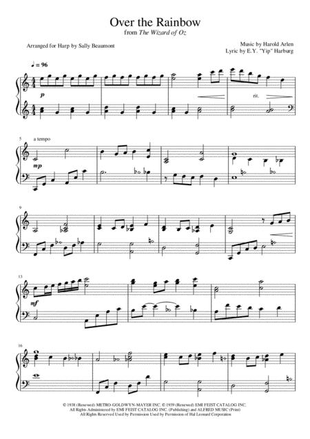 Over The Rainbow (from The Wizard Of Oz) - Lever Harp Arrangement