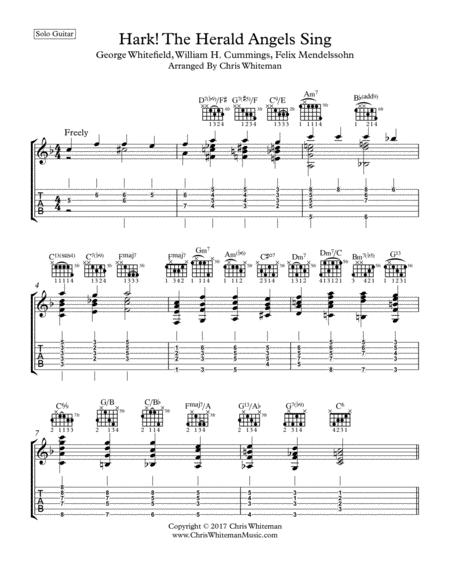 Download Hark The Herald Angels Sing Jazz Guitar Chord Melody