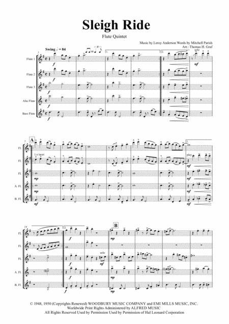 Sleigh Ride - Easy Swing - Flute Quintet
