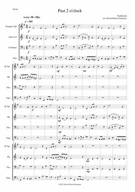 Past 2 o'clock for brass quartet (trumpet, horn, trombone and tuba)