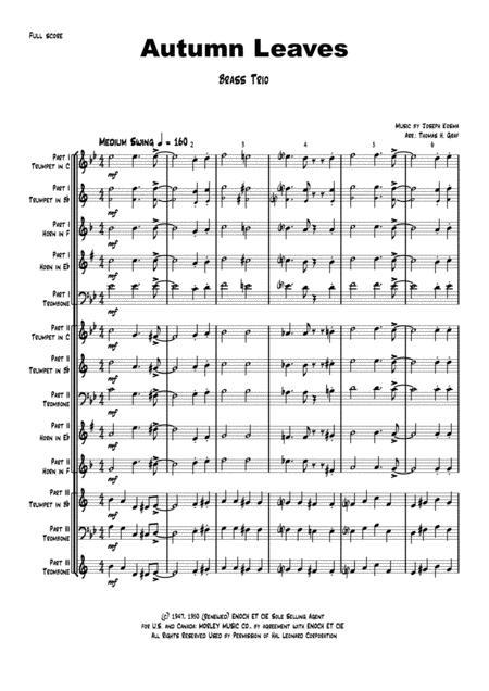 Autumn Leaves - Jazz Classic - Les feuilles mortes - Brass Trio