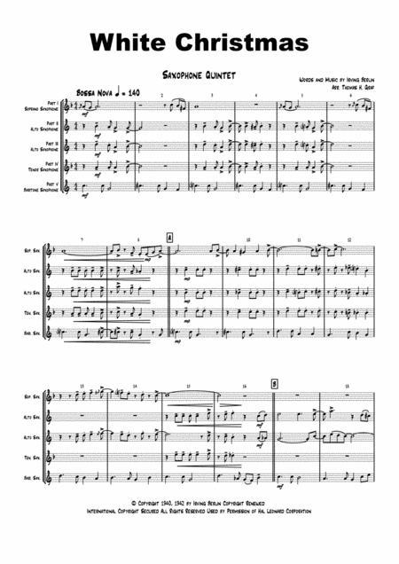 White Christmas - Bossa Nova - Saxophone Quintet