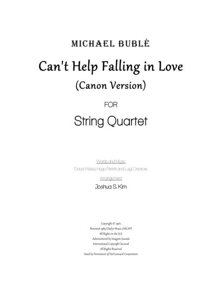 Can't Help Falling In Love for String Quartet (Canon Version)