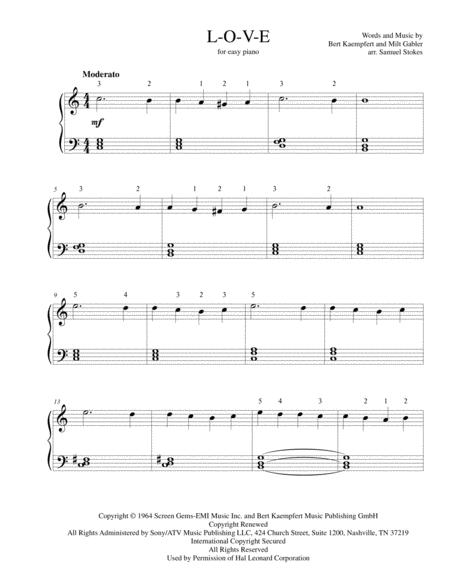 Download L-O-V-E - For Easy Piano Sheet Music By Nat