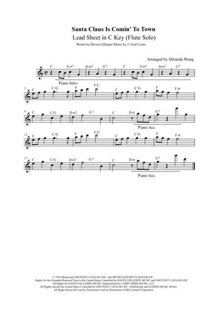 Santa Claus Is Comin' To Town - Popular Christmas Music for Violin and Piano Accompaniment in C Key