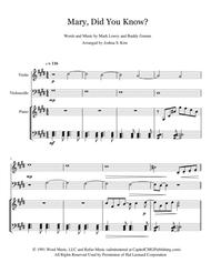 Mary, Did You Know? for Trio (violin, cello & piano)
