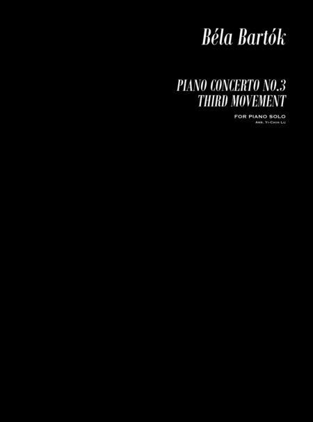Bartok Piano Concerto No. 3, Mov. 3 for Piano Solo