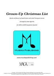 Grown-Up Christmas List - for Saxophone Quartet