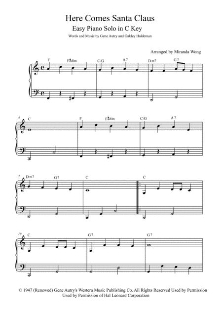 Here Comes Santa Claus (Right Down Santa Claus Lane) - Easy Piano Solo in 2 Keys for Practice
