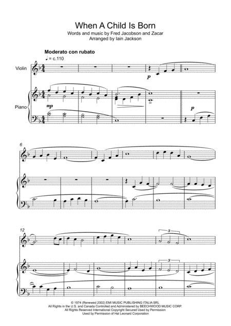 When A Child Is Born - Violin & Piano