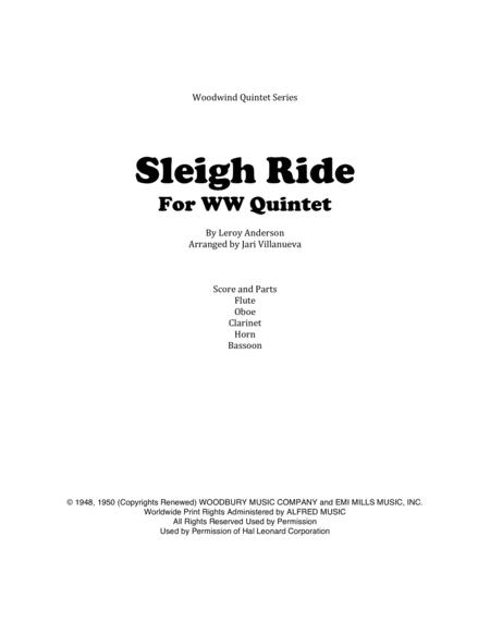 Sleigh Ride for Woodwind Quintet Flute, Oboe, Clarinet, Horn, Bassoon