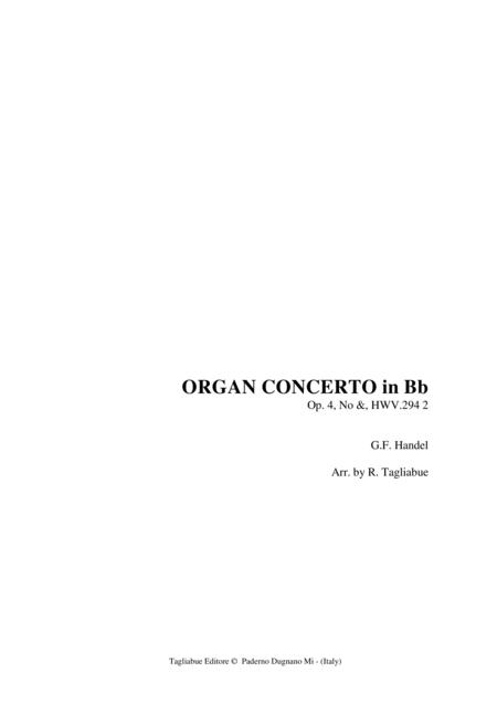 ORGAN CONCERTO in Bb  Op. 4, No 6, HWV.294-2