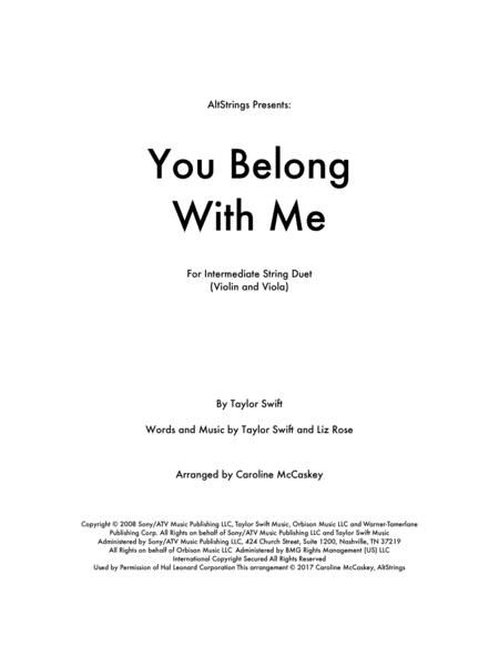 You Belong With Me - Violin and Viola Duet