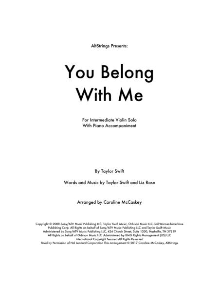 You Belong With Me - Violin Solo with Piano Accompaniment