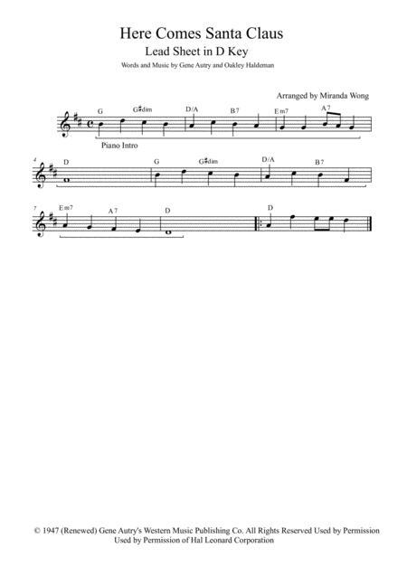 Here Comes Santa Claus (Right Down Santa Claus Lane) - Alto or Baritone Saxophone and Piano Accompaniment